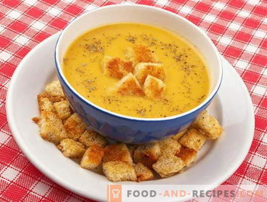 Suppe mit Croutons - die besten Rezepte. Wie man richtig und lecker Suppe mit Croutons kocht.