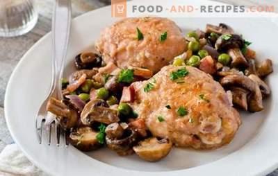 Hühnchen mit Pilzen ist der beste Weg, um Fleisch für eine Beilage vorzubereiten. Hähnchen mit Pilzen zubereiten (Rezept Schritt für Schritt)