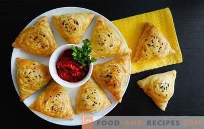 Samsa aus dem fertigen Teig - Schritt für Schritt Rezepte. Samsa aus Blätterteig zu Hause mit Schweinefleisch, Huhn, Lamm, Rindfleisch, Käse