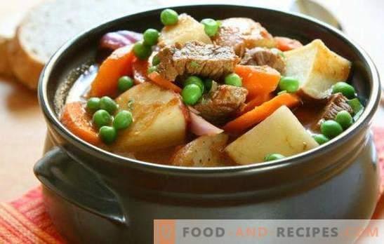 Rindfleisch in einem Topf mit Kartoffeln im Ofen ist ein nahrhaftes und sehr schmackhaftes Gericht. 7 beste Rinderrezepte in einem Topf mit Kartoffeln im Ofen