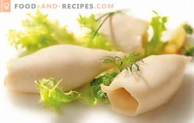 Wie man Tintenfische für Salate und andere Gerichte kocht? Wie viel Kalmar zu kochen, so dass sie einen weichen und angenehmen Geschmack hatten?