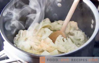 Wie viel Blumenkohl zubereitet wird: frisch und gefroren. Verschiedene Methoden und Rezepte: Wie man Blumenkohl für verschiedene Gerichte kocht