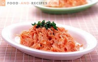 Karottensalat mit Knoblauch: eine helle und nützliche Tischdekoration. Was kann ich Karotten mit Knoblauch füllen?