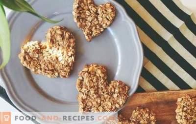 Haferkekse aus Haferflocken: ein gesundes Dessert. Varianten von Haferkekse aus gerolltem Hafer mit Ingwer, Banane, Honig, Trockenfrüchten