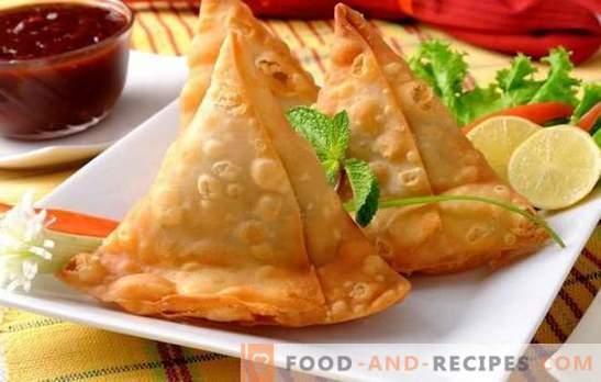 Samsa mit Hackfleisch - befriedigend und lecker. Wie man Samsa mit Hackfleisch vom fertigen oder hausgemachten Blätterteig, mit Zwiebeln, Kürbis, Kartoffeln, Eiern backt