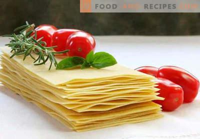 Lasagnenteig - die richtigen Rezepte. Wie man schnell und lecker den Teig für die Lasagne kocht.