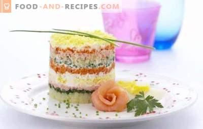 Fischsalat mit Reis - sowohl an Wochentagen als auch an Feiertagen! Fischsalate mit Reis aus Dosen, frischem, geräuchertem, gesalzenem Fisch