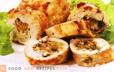 Hühnerbrötchen mit Champignons und Käse - Sie sollten es versuchen. Möchten Sie überraschen - kochen Sie Hühnerbrötchen mit Pilzen und Käse