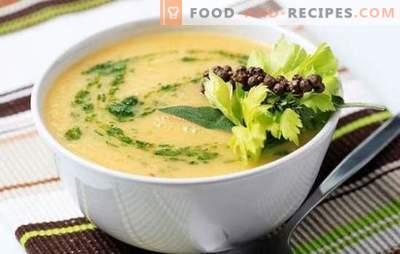 Blumenkohlsuppe mit Sahne, Käse, Kartoffeln, Karotten. Probieren Sie alle Blumenkohl- und Cremesuppen!