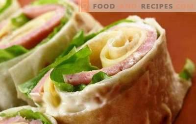 Nehmen Sie die Straße: Pita mit Wurst und Käse. Gestaltungsmöglichkeiten und Füllungen für Pitabrot mit Wurst und Käse