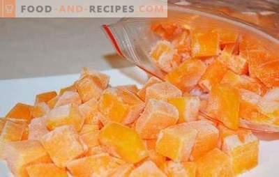Einfrieren von Kürbis in Scheiben oder in Form von Kartoffelpüree. Wie man rohen Kürbis einfriert, gebacken und was daraus zubereitet wird