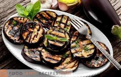 Auberginen auf dem Grill - ein gesunder Snack, leckere Beilage. Salate und Imbissgerichte mit gegrillter Aubergine