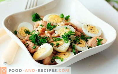 Cod liver salad with egg is a quick, tasty, healthy snack. Top 10 best recipes for cod liver salad with eggs