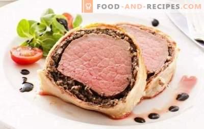 Schweinefleisch im Teig - duftendes Fleisch zum Garnieren oder Snack. Schweinefleischrezepte im Teig im Ofen und in der Pfanne: mit Pilzen, Aprikosen, Preiselbeeren