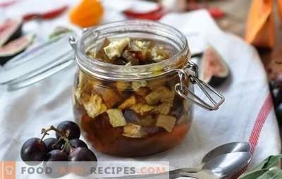 Auberginenmarmelade - Dessert mit Überraschung! Rezepte einfache und armenische Auberginenmarmelade, mit Soda und ohne