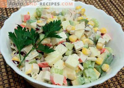 Salat mit Avocado und Krabbenstäbchen - die besten Rezepte. Wie man richtig und lecker einen Salat aus Avocado und Krabbenstäbchen zubereitet.
