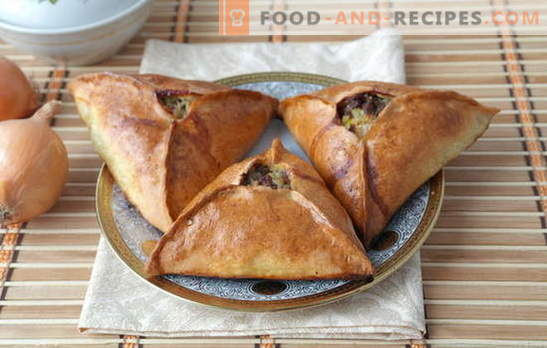 Dreiecke mit Fleisch und Kartoffeln - Tatarische Echpochmaks oder Samsa? Rezepte von Dreiecken mit Fleisch und Kartoffeln aus verschiedenen Teigen