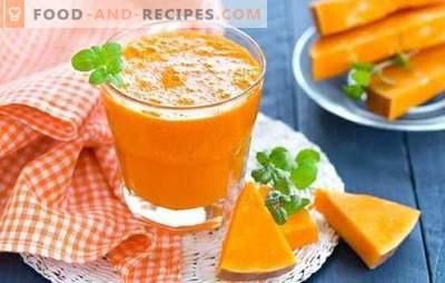 Kürbissaft in einer Saftpresse ist ein leckeres Vitamin-Getränk. So kochen Sie Kürbissaft im Safttopf