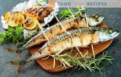 Gegrillte Makrele ist das beste Rezept für Marinade und Aufschlag. Wie man Makrelen auf dem Grill mit würzigen und würzigen Saucen zubereitet