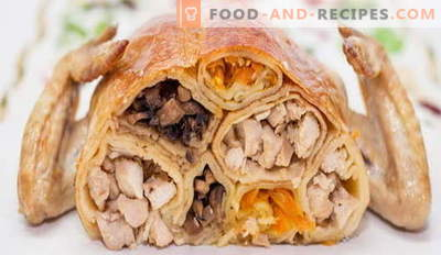 Gefüllte Hühnchen mit Pfannkuchen - die besten Rezepte. Wie man gefüllte Hühnerpfannkuchen richtig und lecker kocht