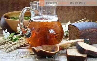 Hausgebräu (Schritt-für-Schritt-Rezept) ist ein natürliches Erfrischungsgetränk. Schritt für Schritt Rezept für hausgemachte Kwas mit Hefe und hefefrei