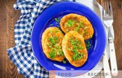 Fastenbällchen - verschiedene Geschmacksrichtungen! Rezepte ohne Fleisch Frikadellen: Karotten, Kohl, Kartoffeln, Hafer, Mais, Gemüse, Reis