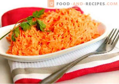 Roher Karottensalat - die besten Rezepte. Wie man richtig und lecker rohen Karottensalat zubereitet.