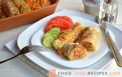 Kohlrouladen mit Reis oder wie man das Abendessen zubereitet, ohne Zeit, Mühe und Geld zu verlieren. Die besten Rezepte für gefüllten Kohl mit Reis: die üblichen und ungewöhnlichen