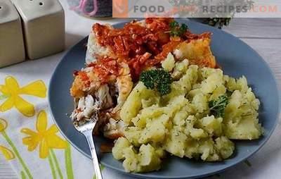 Seehecht unter Gemüse - lecker und heiß und kalt! Schritt-für-Schritt-Rezept des Autors mit Foto: So wird ein Seehecht unter einem Pflanzenpelzmantel zubereitet