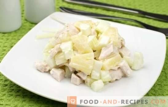 Salat mit Ananas und Hühnerbrust ist ein vertrauter Exotiker. Rezepte zum Kochen von Salat mit Ananas und Hühnerbrust