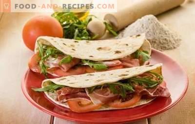 Open shawarma - gesundes Fast Food in Ihrer Küche. Rezepte öffnen Shawarma in Fladenbrot, Laib oder mexikanischem Fladenbrot