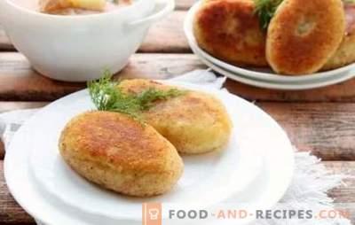 Saftig in einer Pfanne: mit Fleisch, Pilzen, Ei, Käsefüllung. Geheimnisse des Kochens von Fleisch und Kartoffel-Zraz in der Pfanne