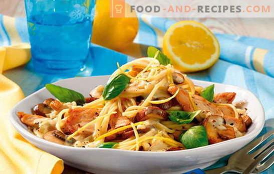 Pasta mit Hähnchenfilet - vollkommene Harmonie! Rezepte Nudelgerichte mit Hühnchen und Gemüse, Pilzen, Speck, Saucen