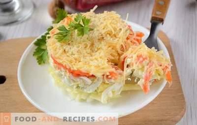 Französischer Salat mit Karotten: portioniert, schön und lecker. Foto-Rezept des Autors aus Schritt-für-Schritt-Kochsalat auf Französisch mit Karotten, Eiern, Äpfeln und Nüssen