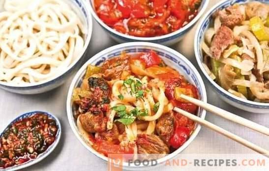 Uygur Lagman - Rezepte und Details zum Kochen. Kochen des uigurischen Lammmanns aus Lammfleisch, Rindfleisch mit Gemüse und Gewürzen
