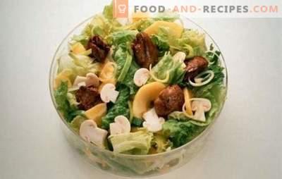 Salat mit Leber und Pilzen: die erfolgreichsten Kochrezepte. Kochen von köstlichen Salaten aus Leber und Pilzen in verschiedenen Variationen