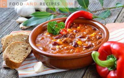 Mexikanische Suppe - das Abendessen wird originell sein! Rezepte verschiedener mexikanischer Suppen: mit Mais, Bohnen, Hackfleisch, Hühnchen, Reis