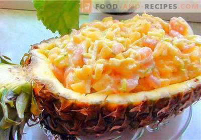 Crab salad with pineapple - the best recipes. How to properly and tasty cook crab salad with pineapple.
