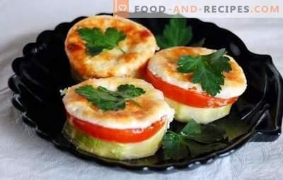 Zucchini mit Tomaten und Käse, im Ofen gebacken: saftig mit herrlicher Kruste. Originalrezepte für Zucchini mit Tomaten und Käse, im Ofen gebacken