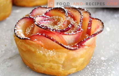 Blätterteig-Rosen mit Äpfeln - Dekoration des Feiertagstisches. Überraschen Sie die Gäste mit Puffrosen mit Äpfeln