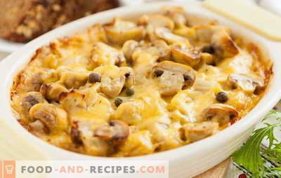 Französische Kartoffeln mit Champignons im Ofen - dem Genuss sind keine Grenzen gesetzt! Rezepte für das Kochen von Kartoffeln auf Französisch mit Champignons im Ofen