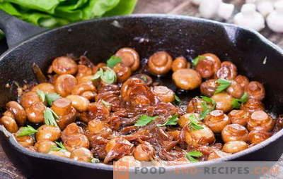 Pilze kochen - Empfehlungen und Rezepte. Wie viele Champignons braten und wie man Champignons in einer Pfanne brät, um das Gericht lecker zu machen