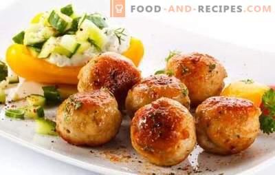 Schweinefleischbällchen - eine lohnende Mahlzeit! Rezepte verschiedener Fleischbällchen mit Schweinefleisch und Gemüse, Pilzen, Reis, Buchweizen, Käse