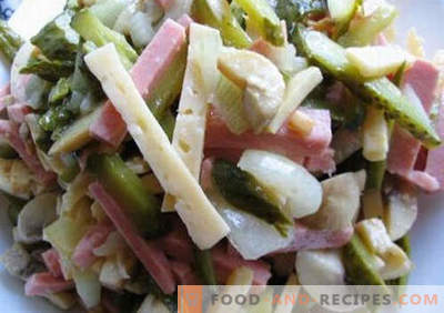 Salat mit Brühwurst - fünf beste Rezepte. Wie richtig und lecker gekochter Salat mit Brühwurst.