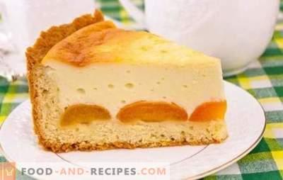 Pie mit Hüttenkäse und Aprikosen ist ein köstliches gesundes Dessert. Rezepte für Hüttenkäsetorten und Aprikosen aus verschiedenen Teigarten