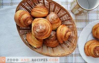 Schneckenbrötchen - kompliziertes Gebäck für Tee. Rezepte von duftenden, leckeren Schnecken mit Zucker, Mohn, Kokosnuss
