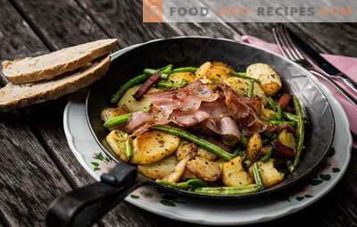 Kartoffeln mit Fleisch in der Pfanne - eine Tradition! Die besten Rezepte von Bratkartoffeln mit Fleisch in einer Pfanne: mit Hackfleisch, Sauerrahm, Gemüse