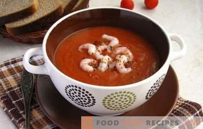 Tomatensuppe mit Garnelen - eine aromatische Delikatesse. Die besten Rezepte für Tomatensuppe mit Garnelen und anderen Meeresfrüchten