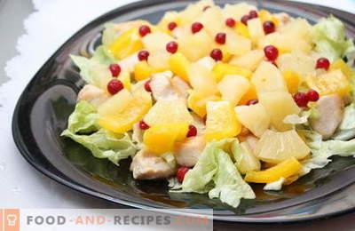 Ananassalate sind die besten Rezepte. Wie man richtig und lecker Salate mit Ananas zubereitet.