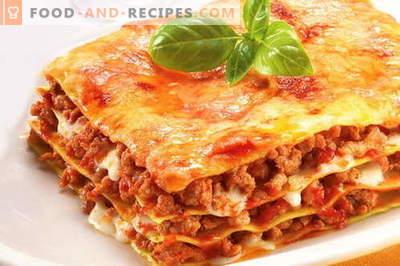 Lasagne - die besten Rezepte. Wie richtig und lecker gekochte Lasagne.